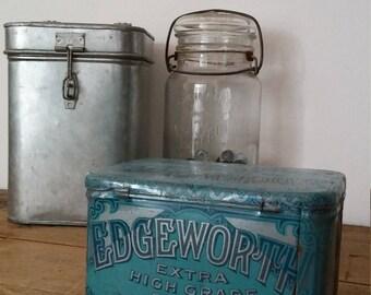 EDGEWORTH box, tobacco box, advertising box, vintage box, metal box, farmhouse decor, shabby chic