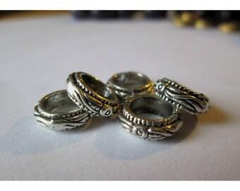 5 10mm silver color metal rings