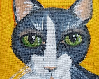 sad eyes series hand painted folksy cat painting -zeke 6x6 inch acrylic painting.