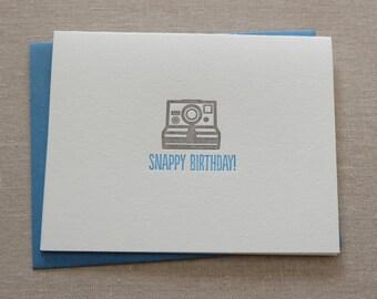 Snappy Birthday Camera Letterpress Card & Envelope