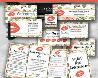 Lipsense Marketing Bundle, Senegence Marketing Bundle, Lipsense Marketing Business Cards Template, Lipsense Marketing Kit, Pack, Floral
