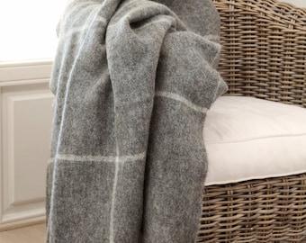 """Throw blanket - wool blanket - Blanket - bedspread - grey wool blanket - large blanket """"Boteh 55"""""""