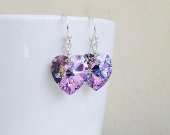 Lilac Teal Swarovski Crystal Earrings Sterling Silver Dangle