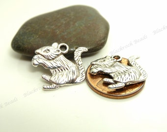 Bulk 18 Squirrel Charms ( Double Sided ) - Antique Silver Tone Metal - 19x16mm - BP14