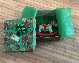 Miniature Toy Rocking Horse in a Green Gift Box with a Green bow on top