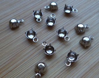 24ss stone size silvertone round closed back 1 ring pendant prong setting 5.27mm - 5.44mm cb1r 12 pc lot l