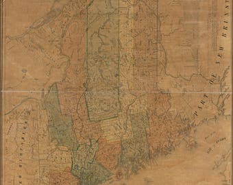 Poster, Many Sizes Available; Map Of The State Of Maine 1840
