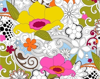 """Windham Fabric's """"Delight"""" Multi Colored Floral 30"""" Remnant"""