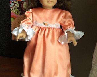 "18"" Doll Gown in peach satin"