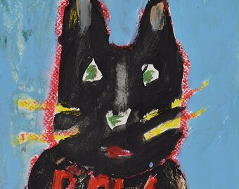 Kitty Cat Painting Print. Raw Art. Cute Gifts for Her. Girlfriend Gift. Living Room Wall Decor