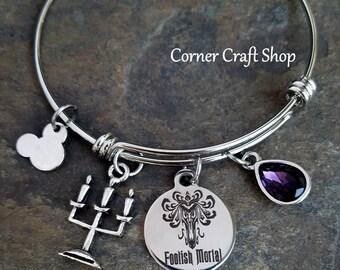 FOOLISH MORTAL Haunted Mansion Ride Wallpaper print Charm  Silver Bangle Bracelet with Purple Teardrop Crystal Candelabra Mickey Mouse Charm