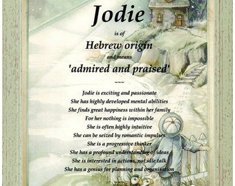 Personalised first name meaning origin gift regal gold personalised first name meaning origin gift jodie lighthouse background unique ideal christmas or birthday presents for a special child negle Choice Image