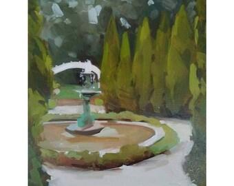 "Fountain in Garden 8""x8"" Original Oil Painting"