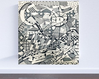 Sun and Moon, Original geometric abstract Landscape drawing, black and white, mountain drawing art work,ink  home decor optical illusion art