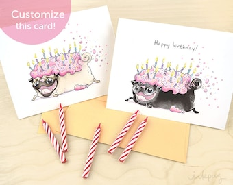 Pug Birthday Card - Cute Strawberry Frosted Pug Cake, Pug Loaf, Pug Card, Funny Happy Birthday Card with fawn or black pug from InkPug
