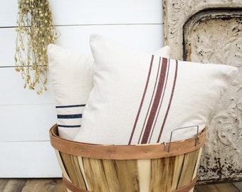 GRAIN SACK PILLOWS five Stripe   farmhouse pillows, vintage farmhouse decor, shabby chic pillow covers, floor cushion, french country decor
