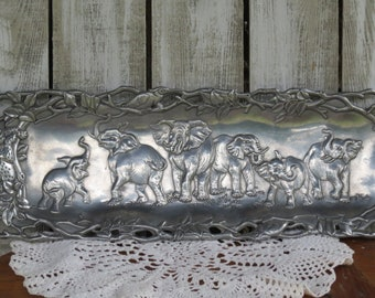 Vintage Arthur Court Elephant Tiger Serving Tray Safari Theme - 1997 - Silver Elephant