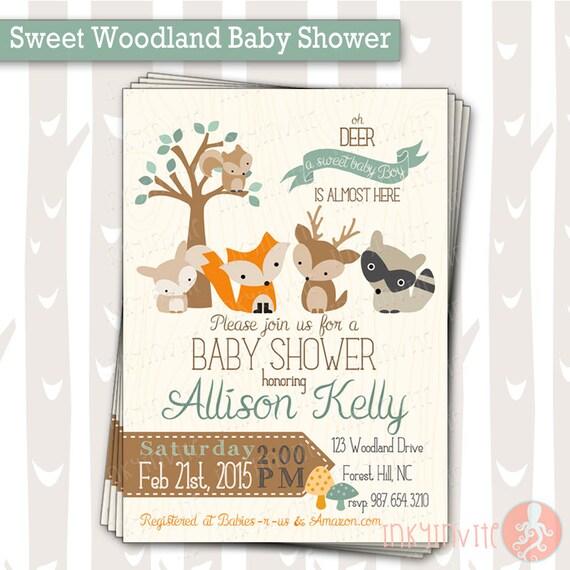Sweet Woodland Baby Shower Invitation Baby Boy Woodland