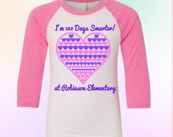 Girls 100 Days Shirt, 100 Days of School Shirt, Girls 100 Days Smarter Shirt, 100 Days of School Raglan, Kids 100 Days of School Shirt