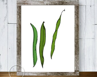 Green Beans Illustration Art Print Poster - Instant Download 8x10