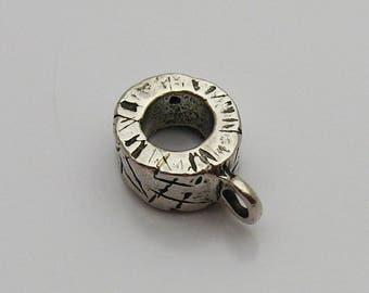 Silver Charm Holder Slide for Leather Cord or Round Silver Charm Bracelets, Charm Bracelet Accessory, Charm Slide, Fingerprint Charm