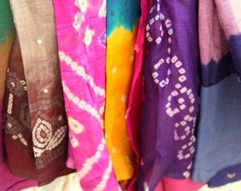 Used Silk Tribal Sari Bandhini Style, Shibori Print, Set of 20 Saree Assorted Colors , Nuno Felting