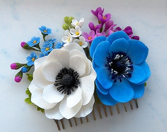 "Hair comb ""Anemones"".Hair accessories. Floral hair comb. Flowers for hairstyle.Gift for women."