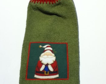 Santa Hand Towel With Claret Crocheted Top