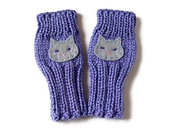 Toddler Gloves, Knitted Toddler Gloves, Kitty Gloves, Cat Kids Gloves, Lavender Hand Warmers, Kawaii Gloves, Kid Fingerless Glove