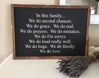 In this family we do wooden sign / handmade sign / home decor / family sign / farmhouse sign / fixer upper / wall decor / gallery wall decor