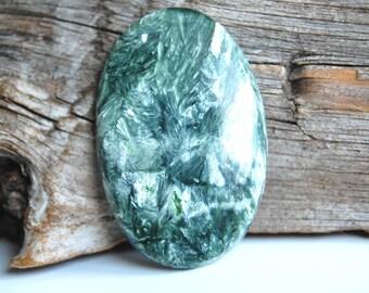 38x25mm Seraphinite cabochon gemstone pendant making supplies natural green gemstone stone