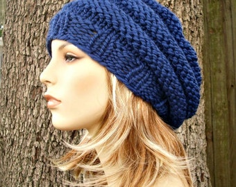 Sapphire Blue Beret Womens Hat Blue Hat Blue Beanie - Original Beehive Beret Blue Knit Hat - Womens Accessories
