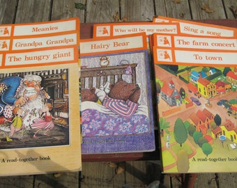 Lot of Vintage School Readers A Read-Together Books, Large and Small Books Paperback