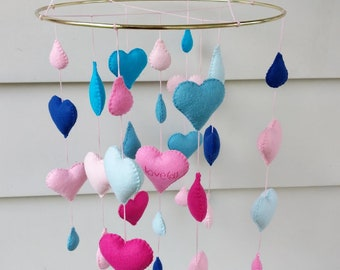 Heart and tear drop baby mobile, heart baby mobile