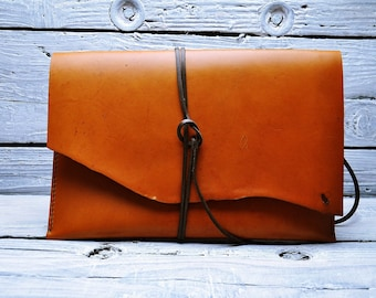 Leather clutch, evening bag, case, leather case, macbook case, leather bag