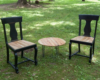 Matte Black & Reclaimed Wood Traditional Modern Dining Chairs Set