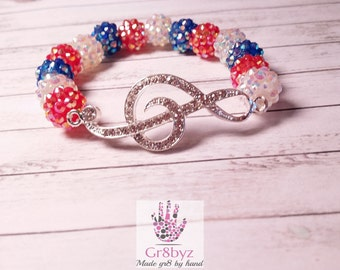 Red White and Blue G Clef Music Note Stretch Bracelet, patriotic, America, Made in in USA, True colors