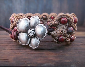 Bohemian Beaded Bracelet or Cuff, earthy rustic red, Southwestern Cowgirl Gypsy Jewelry