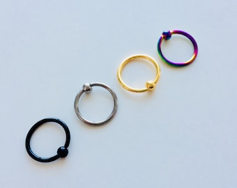 Ball Closure | BCR | Ring | Rainbow | Multi Coloured | Silver | Gold | Black | Septum | Ear | Piercing | Body Jewellery