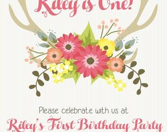 Oh Deer Birthday Invitation