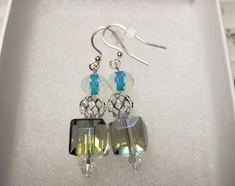 Crystal & Cage blue earrings