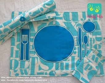 40% OFF w CODE Made and Ready to Ship Aqua Letterpress Montessori TeachMe RollUp Placemat by Messy Kids Designs