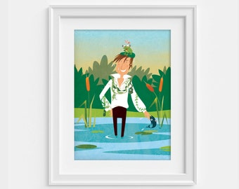 Jane Austen - poster Mr Darcy emerging from the pond at Pemberley - Pride and prejudice