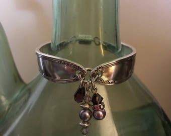 SIMPLISTIC VICTORIAN...antique spoon handles.. Victorian .. vintage, purple , silver plated, Swarovski crystals