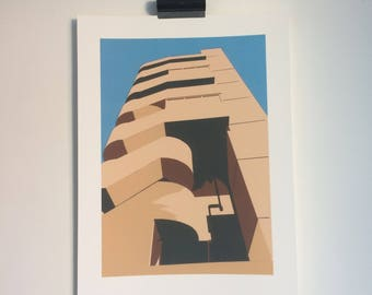 Milford Towers - Print from original papercut art