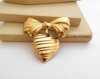 Vintage Avon I Love You Grandmother Victorian Style Heart Bow Gift Brooch OO8