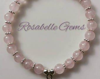 Heart Chakra, Bracelet, Heart Chakra Bracelet, Rose Quartz, Love Stone, Gemstone Bracelet, Valentines Gift, Gift For Her, Heart, Chakra
