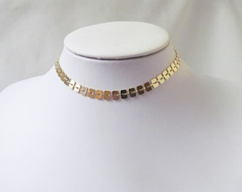 Thick gold choker necklace, chocker necklace, collar necklace