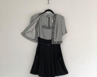 Vintage 80's Black & White 2 Piece Jumpsuit Romper with Jacket S