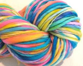 Bulky Handspun Yarn Interplanet Janet 135 yards hand dyed wool blue pink yellow yarn waldorf doll hair knitting supplies crochet supplies